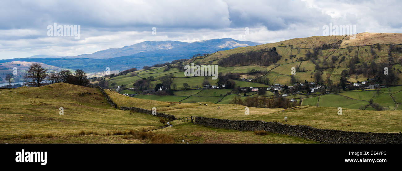 Troutbeck Valley panorama - Stock Image