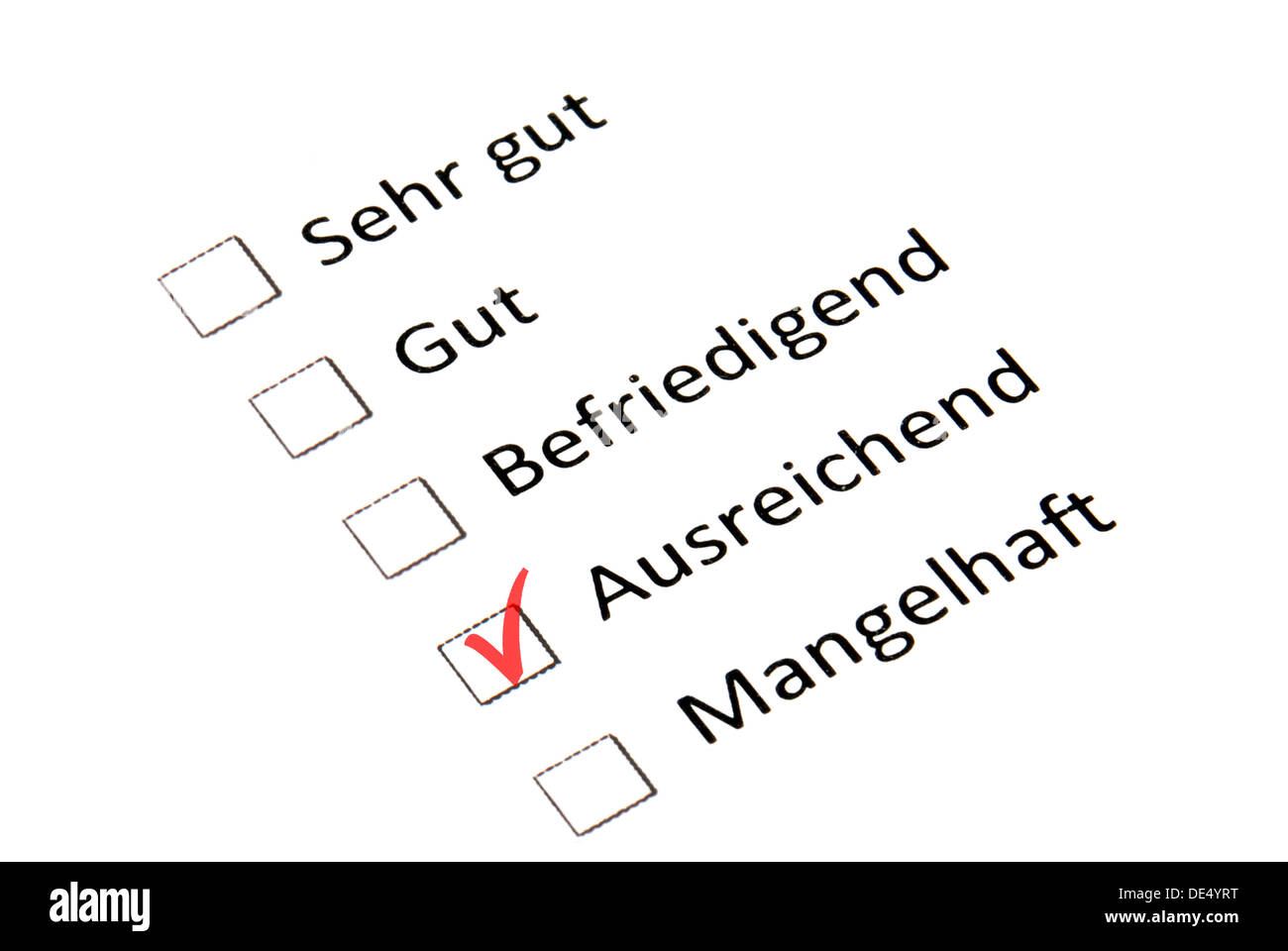 Feedback form with good evaluation, symbolic image for adequate qualification - Stock Image