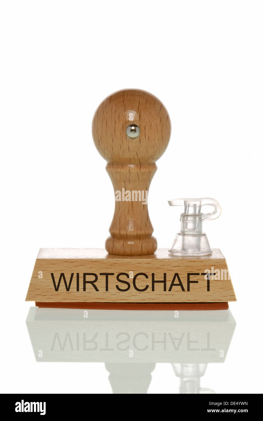 Stamp with the word 'Wirtschaft', economy with an closed valve, symbolic image for an inflated economy - Stock Image