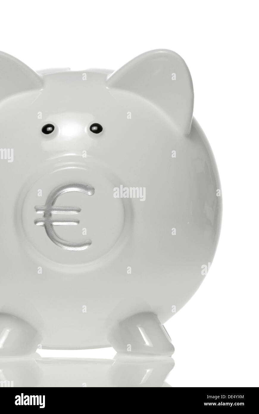 Piggy bank with euro symbol on the nose - Stock Image