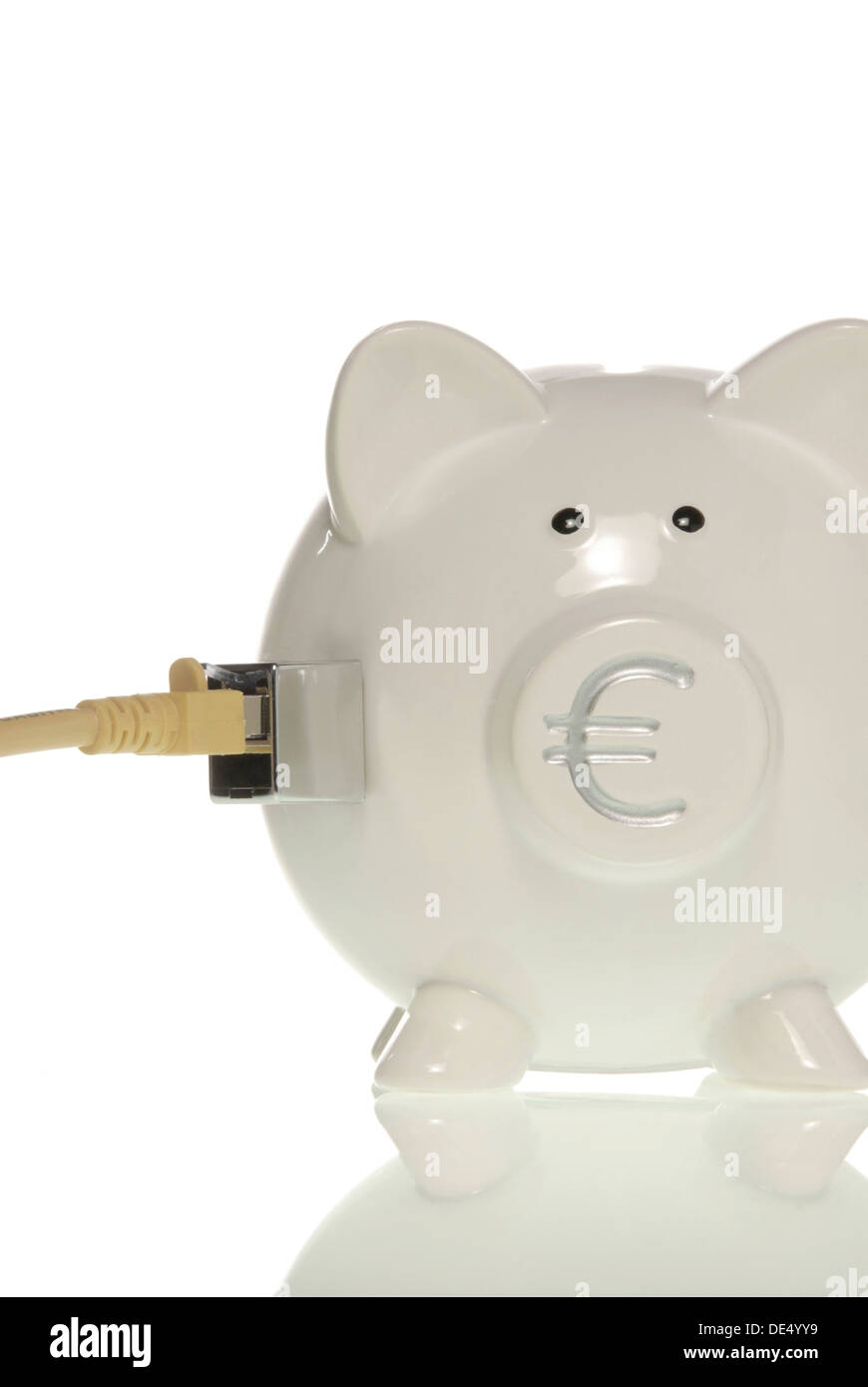 Piggy bank with euro symbol on the nose and LAN cable, symbolic picture for online banking - Stock Image