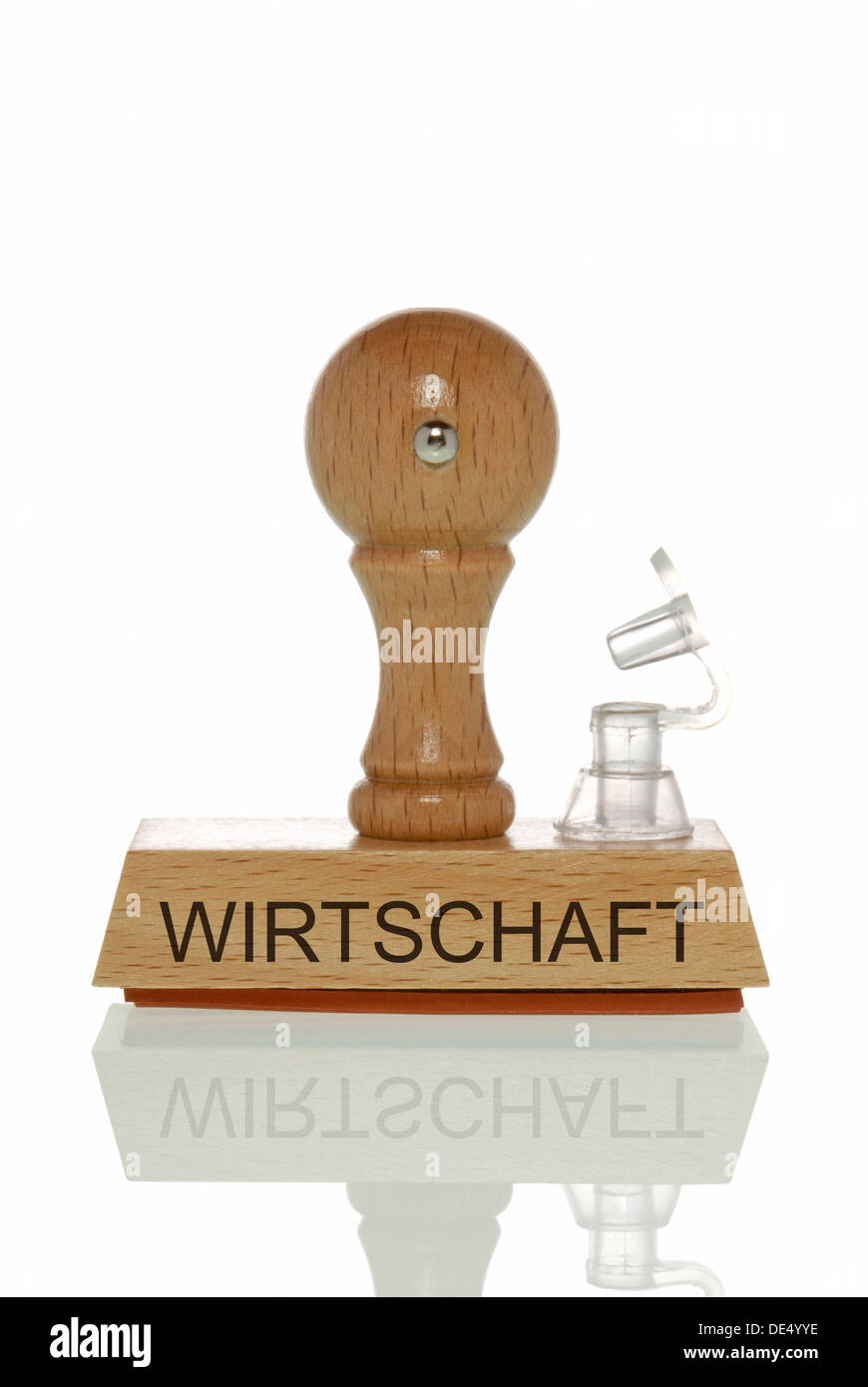 Stamp with the word 'Wirtschaft', economy with an open valve, symbolic image for the economy running out of air - Stock Image