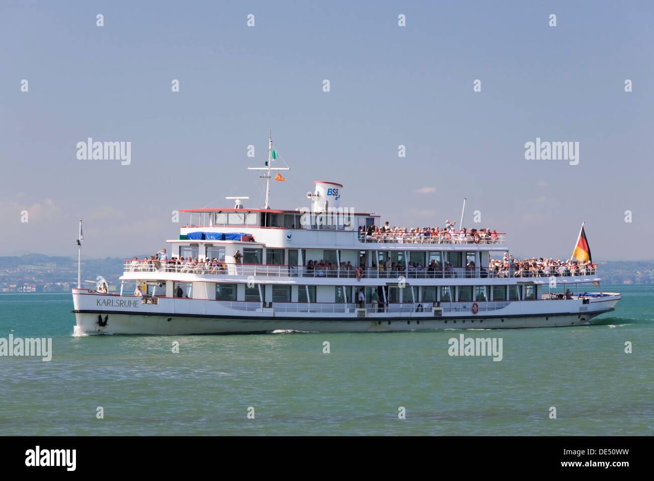 Passenger ferry cruising on Lake Constance, Baden-Wuerttemberg - Stock Image