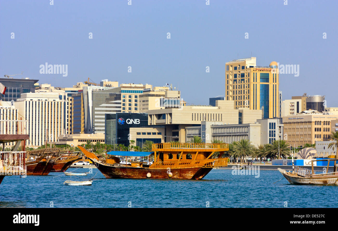 View across the Bay of Doha towards the Banking District, Doha, Qatar - Stock Image