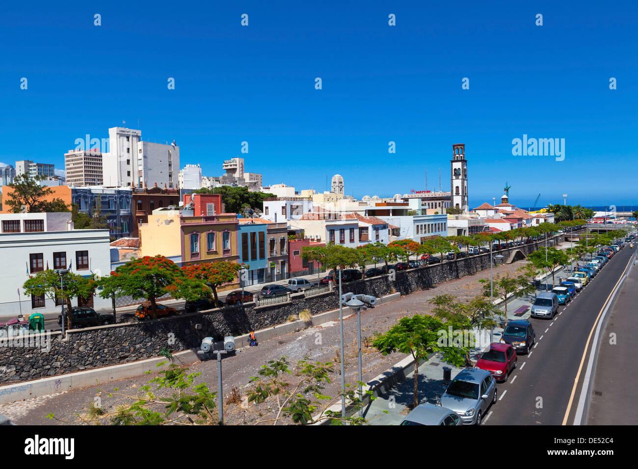 Capital of Santa Cruz de Tenerife with the Barranco de Santos and steeple of the Nuestra Señora de la Concepcion church Stock Photo