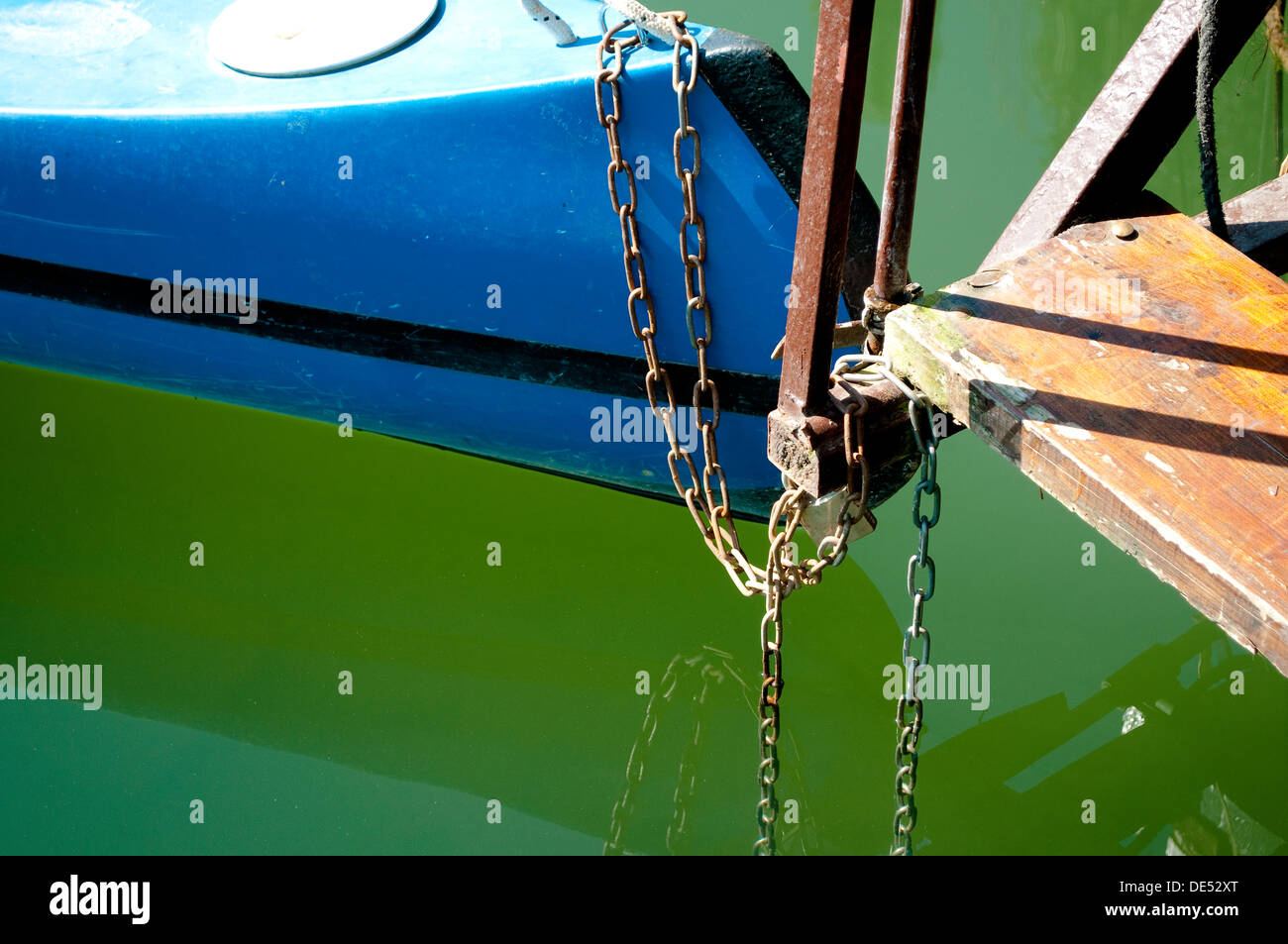Canoe tied to a step, River Mreznica, Central Croatia - Stock Image