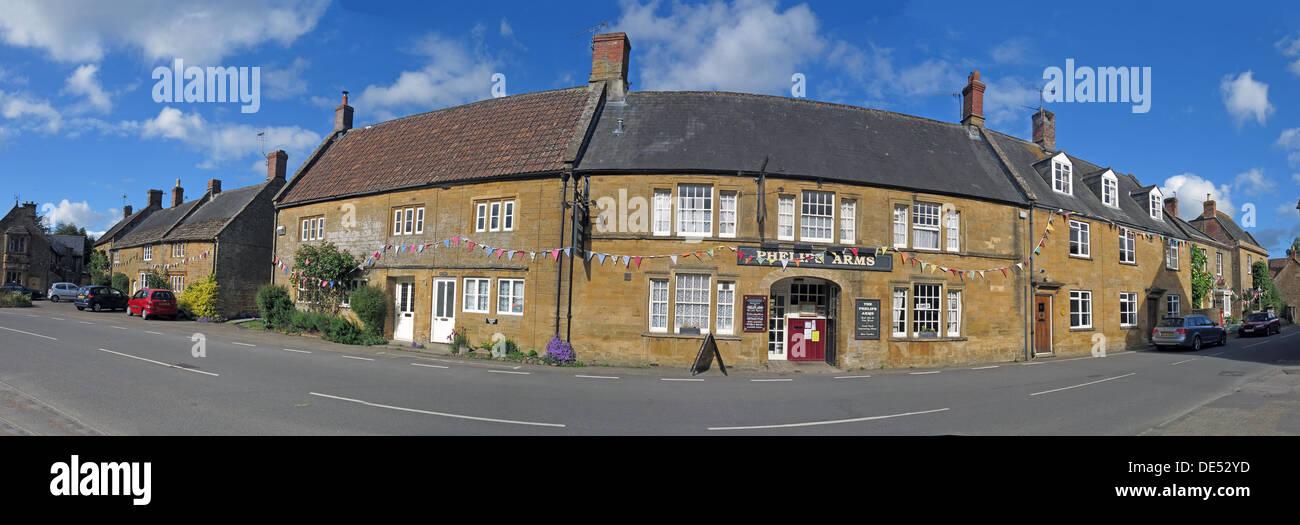 Phelips Arms panorama, Montecute, Somerset, England,UK - Stock Image