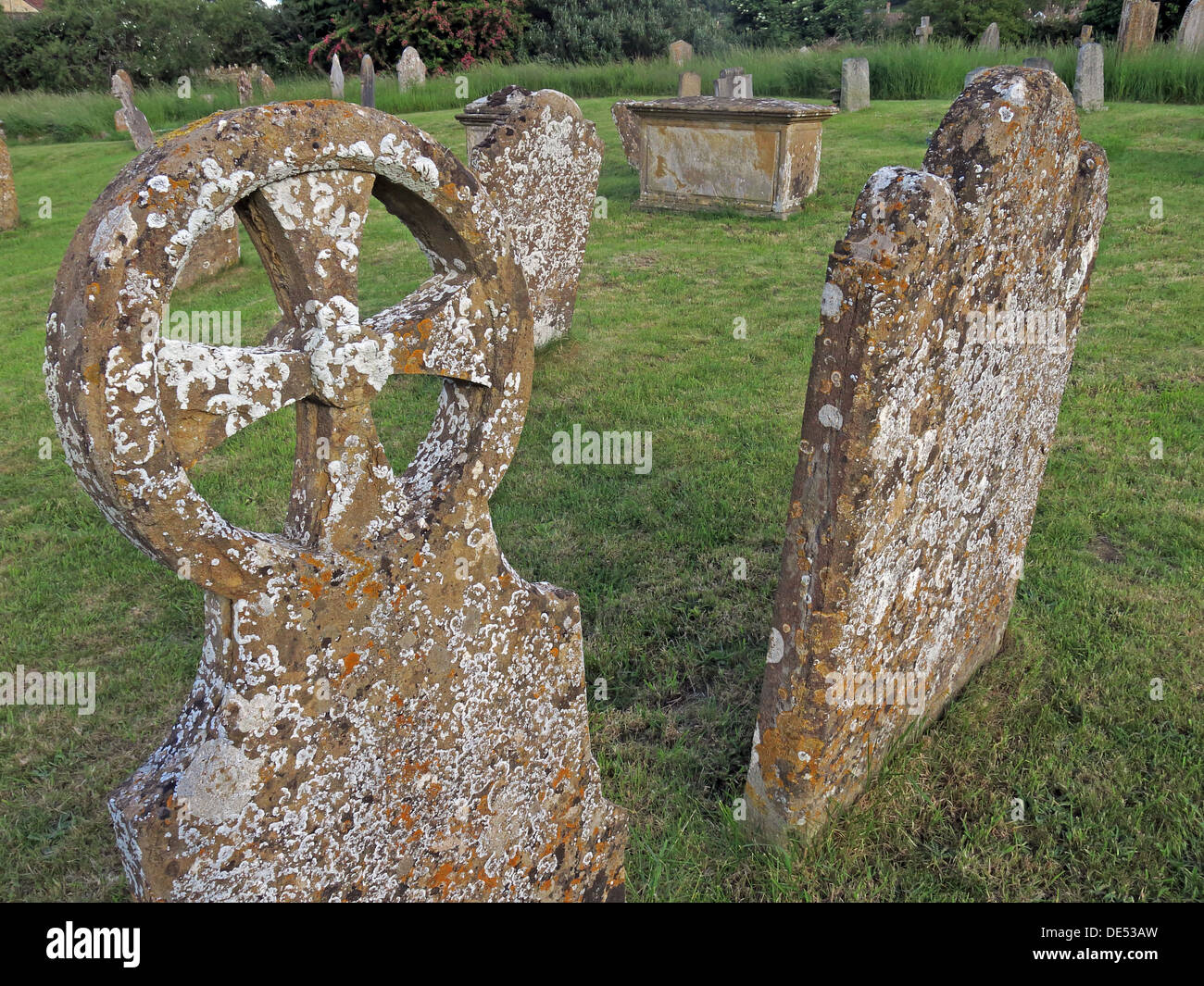 Old Gravestones at Church of St Catherine, Montacute, South Somerset,South West England, TA15 6UZ - Stock Image