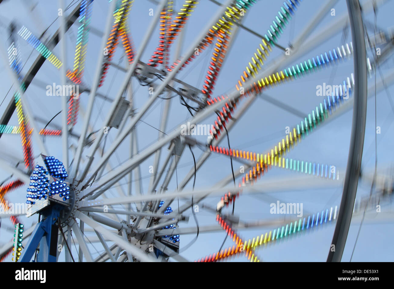Ferris Wheel Motion Blur. Canfield Fair. Mahoning County Fair. Canfield, Youngstown, Ohio, USA. - Stock Image