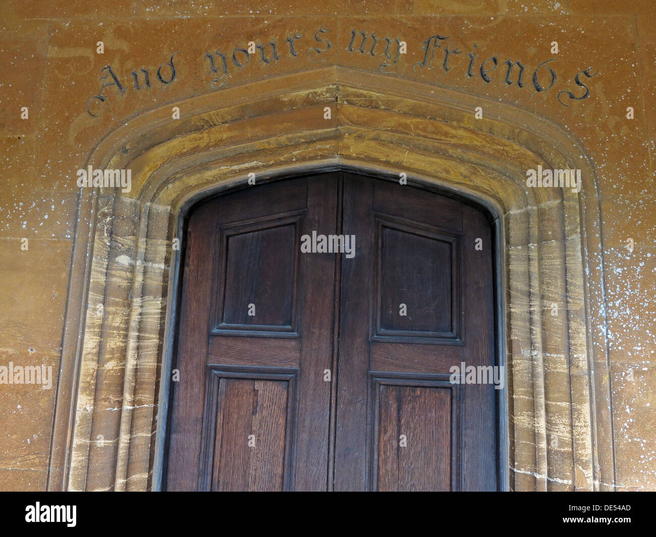 'And Yours My Friends', inscription in Montecute, Somerset, England, UK - Stock Image