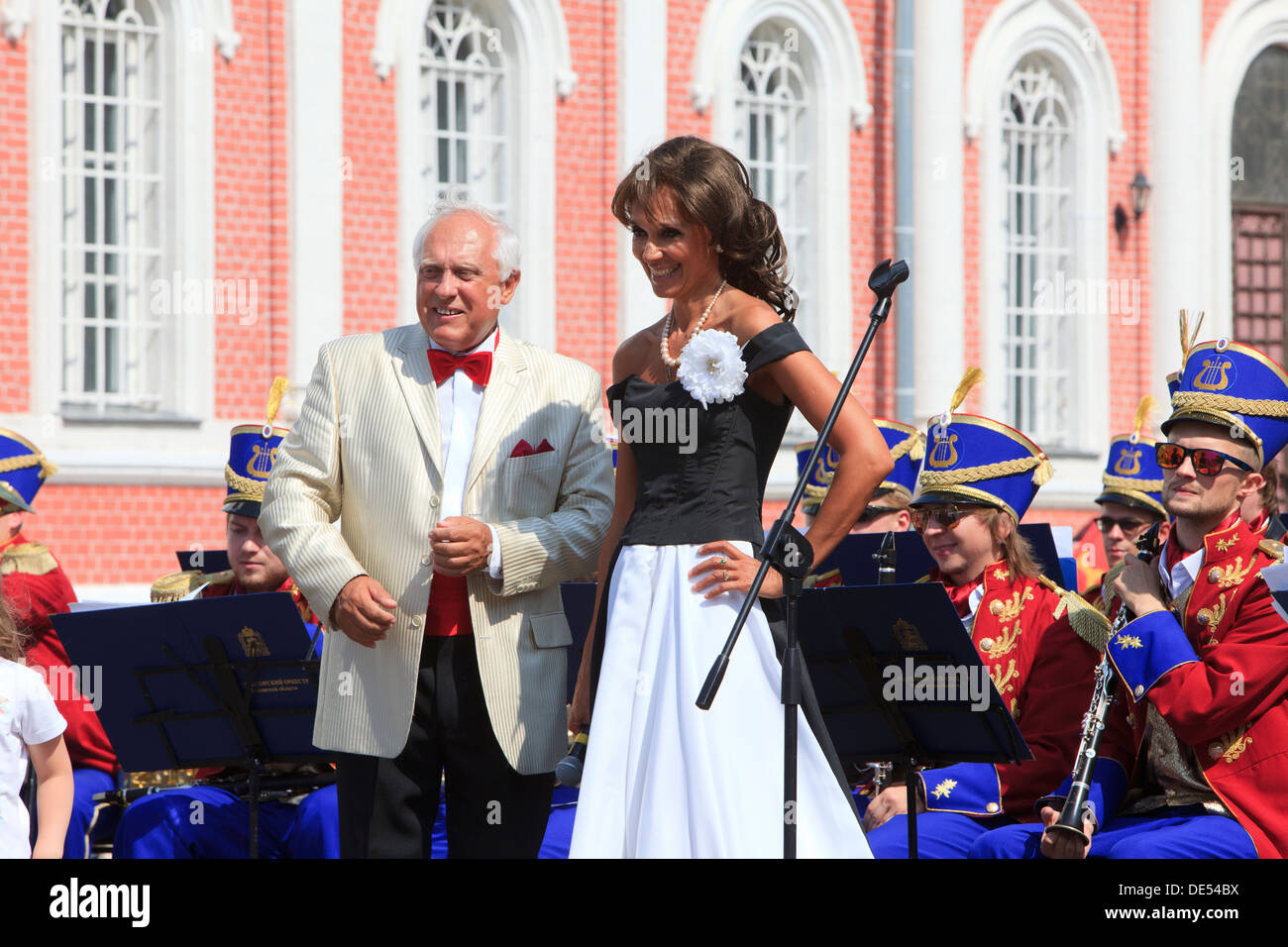 Famous local female singer and conductor during celebrations at the Kremlin in Kolomna, Russia - Stock Image