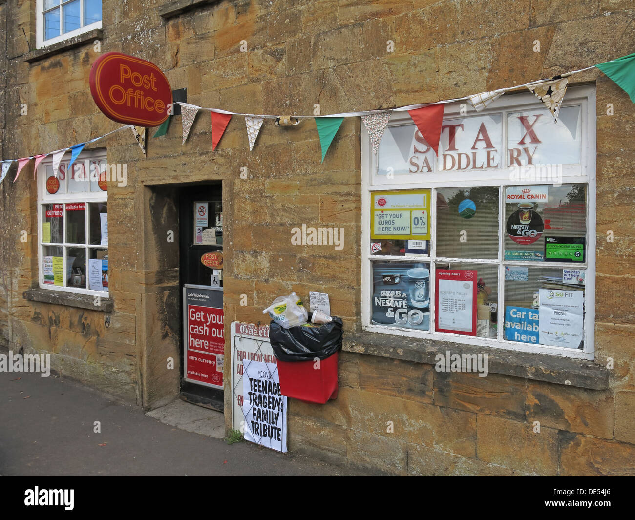 Montecute Post Office & Stax Saddery, village, South Somerset, England, UK TA15 6XD - Stock Image