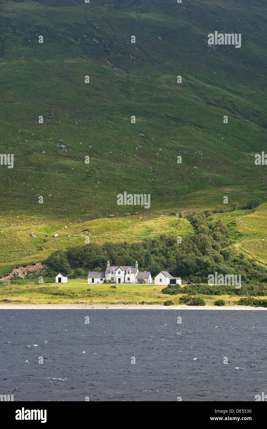 View across Loch More in the Northern Highlands with the Aultanrynie Hotel, Sutherland, Scotland, United Kingdom, Europe - Stock Image
