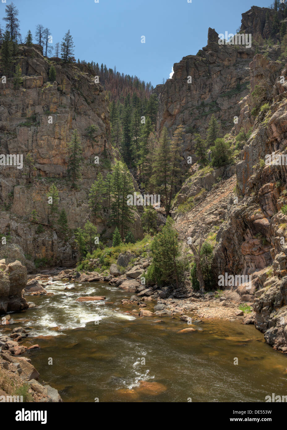 Northern Colorado's Cache La Poudre river and canyon at Poverty Gulch. - Stock Image