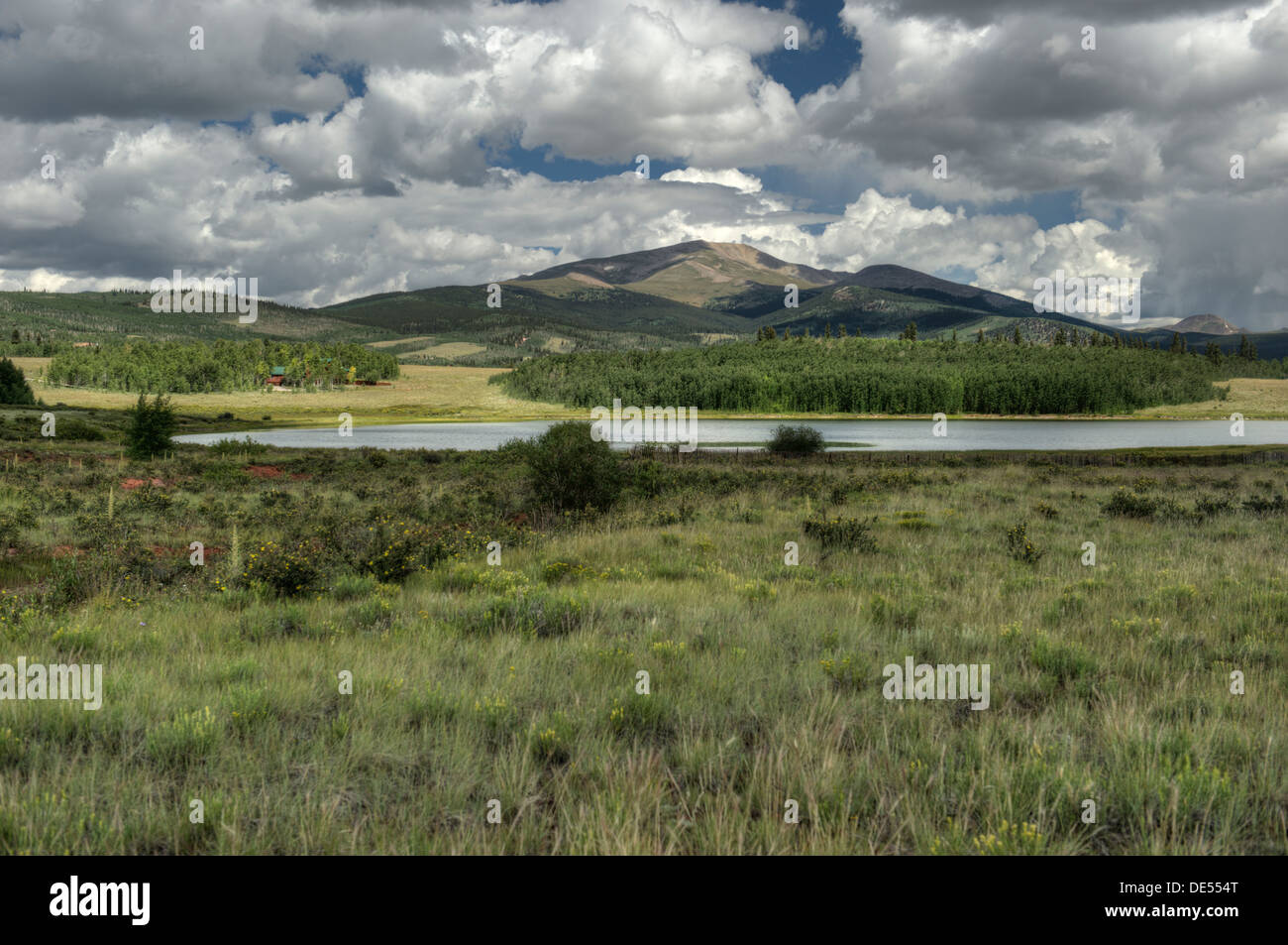 This idyllic view of Mt. Silverheels greets the traveler on US Hwy 285 just outside the town of Fairplay, Colorado. - Stock Image