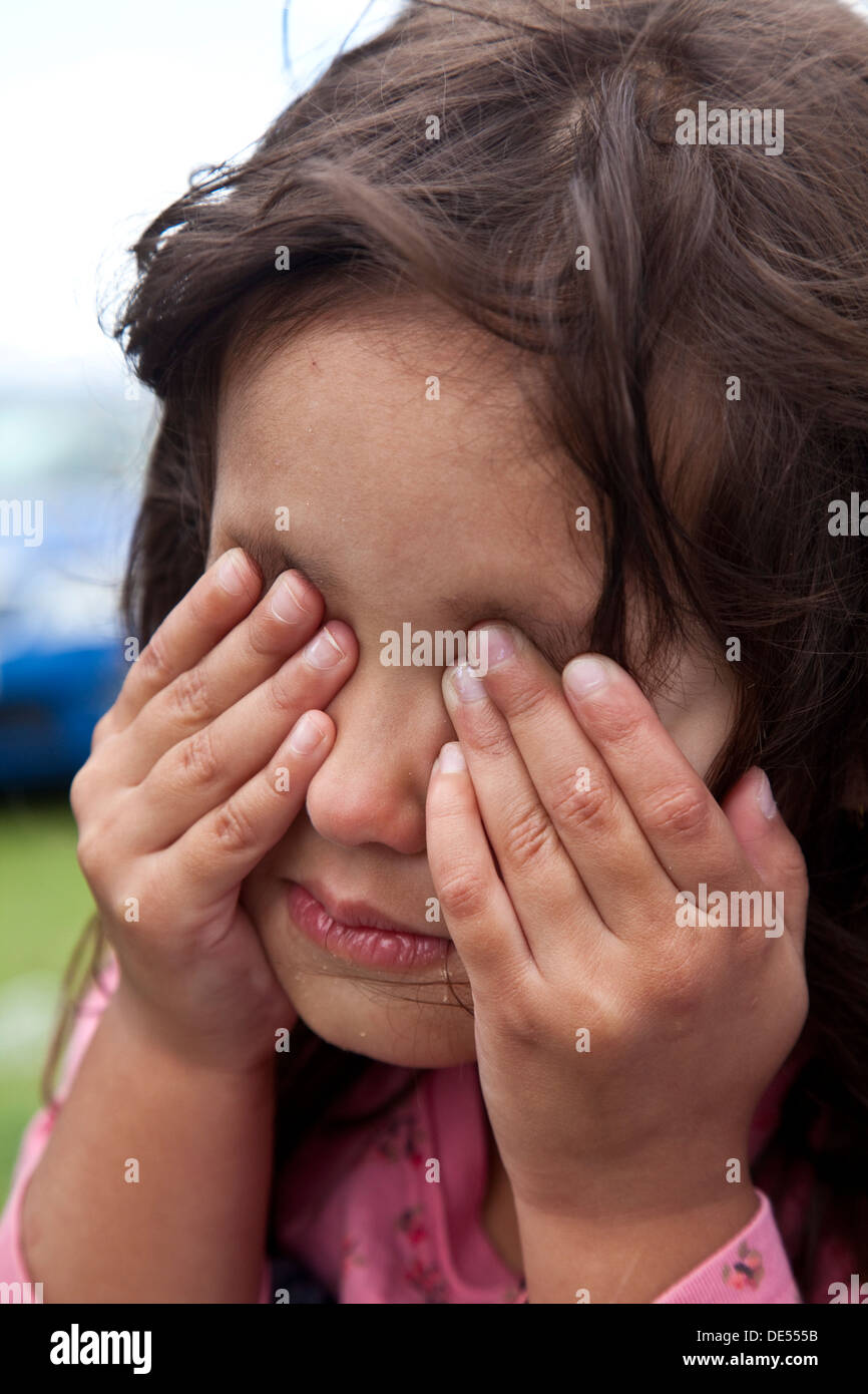 Angry Child, Hartfield Village Fete, Hartfield, Sussex, England - Stock Image