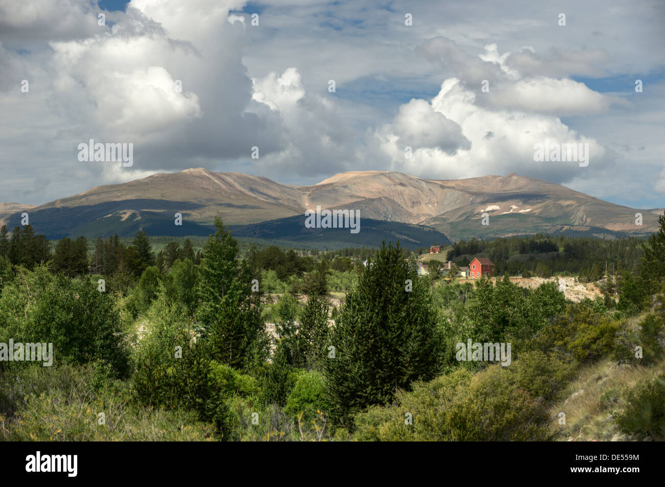 Mount Sherman (14,036 feet), in the Mosquito Range, stands watch over the town of Fairplay, Colorado in South Park. - Stock Image