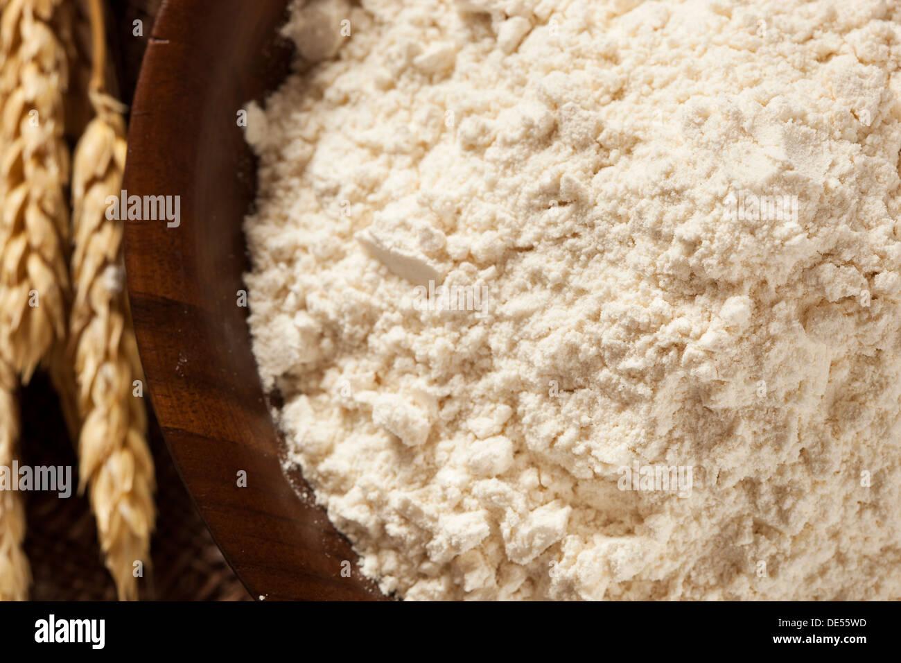 Organic Whole Wheat Flour Ready For Baking - Stock Image