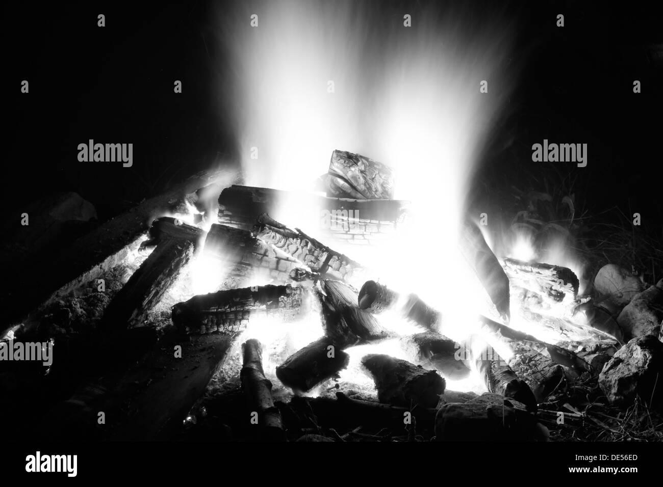 Fire in black and white, Seefeld, Oberbayern, Bavaria, Germany Stock Photo