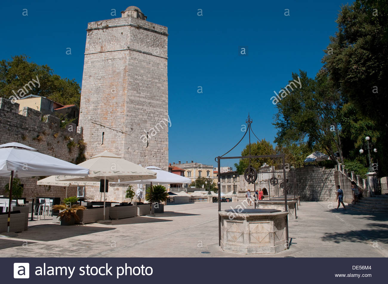 Five Wells Square and Captain's Tower, Zadar, Croatia - Stock Image