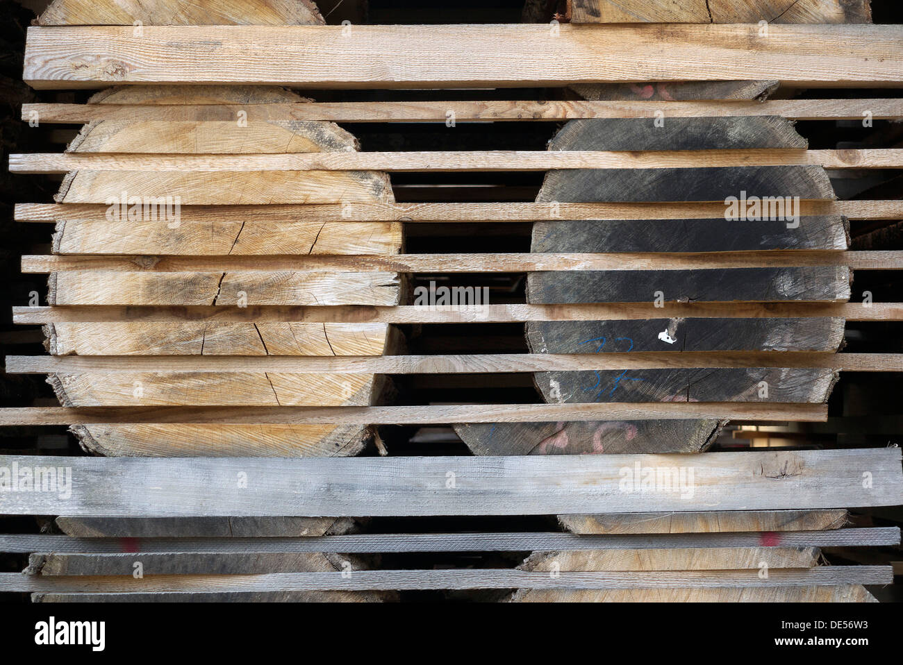 Storage of sawn timber logs in longitudinal direction for better drying in a sawmill Stock Photo