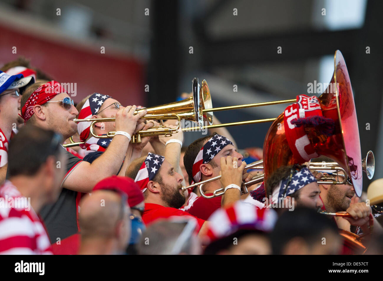 Columbus, Ohio, USA. 10th Sep, 2013. September 10, 2013: Members of the American Outlaws play the trumpet and tuba to get the crowd excited during the U.S. Men's National Team vs. Mexico National Team- World Cup Qualifier match at Columbus Crew Stadium - Columbus, OH. The United States Men's National Team defeated The Mexico National Team 2-0 and clinched a spot for the World Cup in Brazil. © csm/Alamy Live News - Stock Image