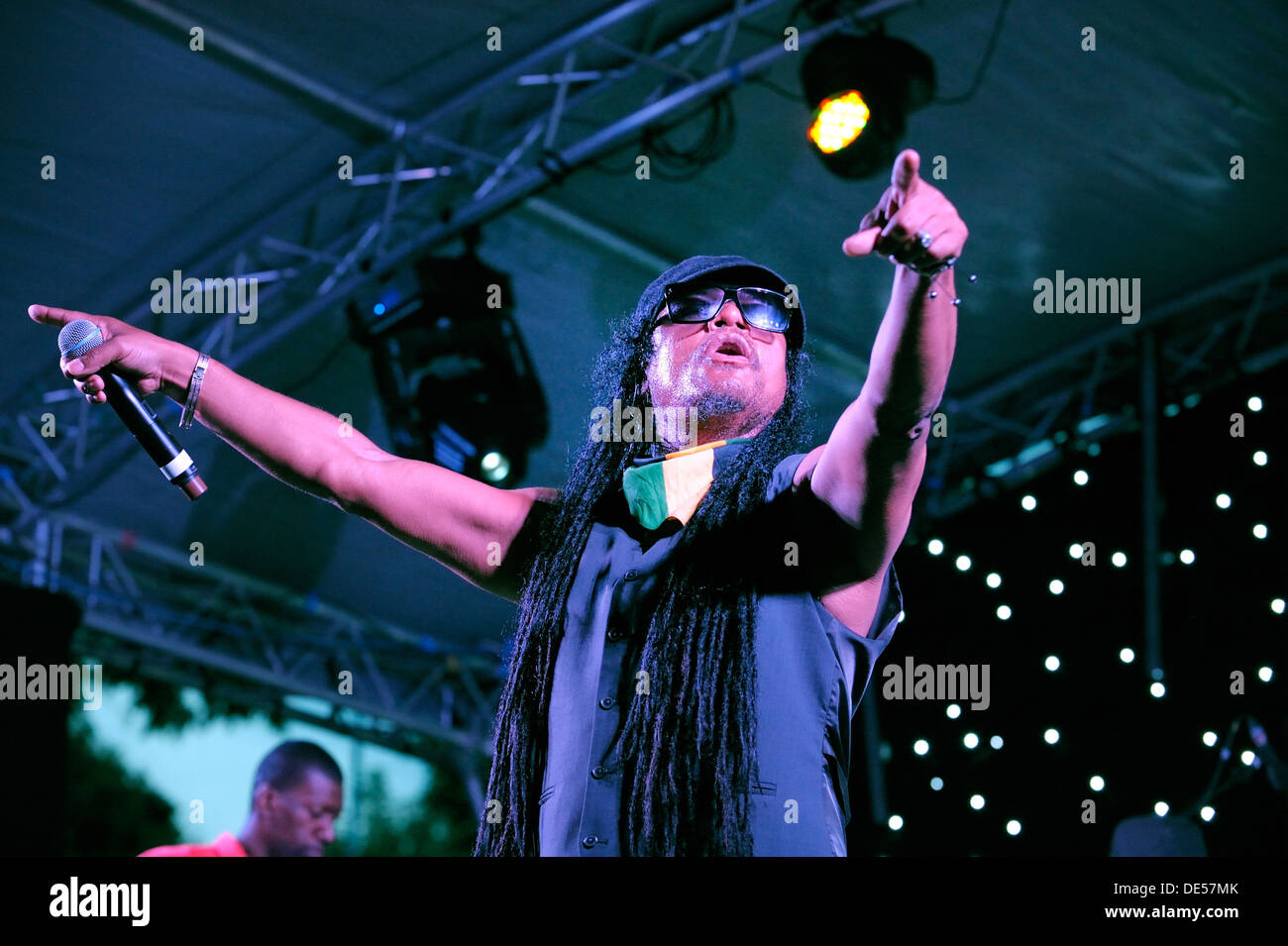 Jamaican British singer Maxi Priest on stage at the The Flyover Show, Hockley Circus, Birmingham, England, 18 August Stock Photo