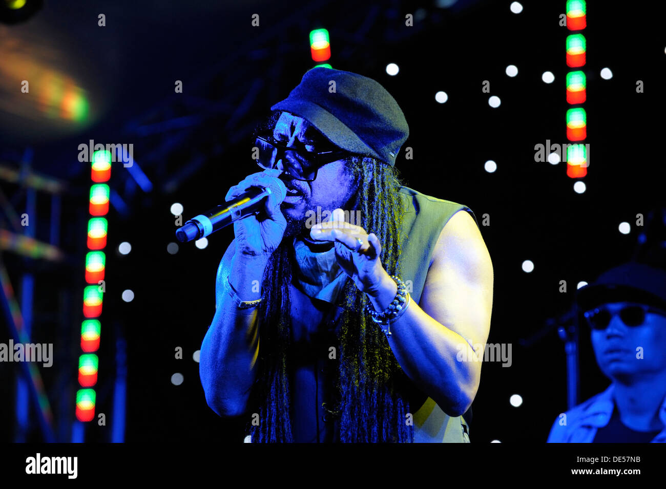 Jamaican British singer Maxi Priest on stage at the The Flyover Show, Hockley Circus, Birmingham, England, 18 August 2012 - Stock Image
