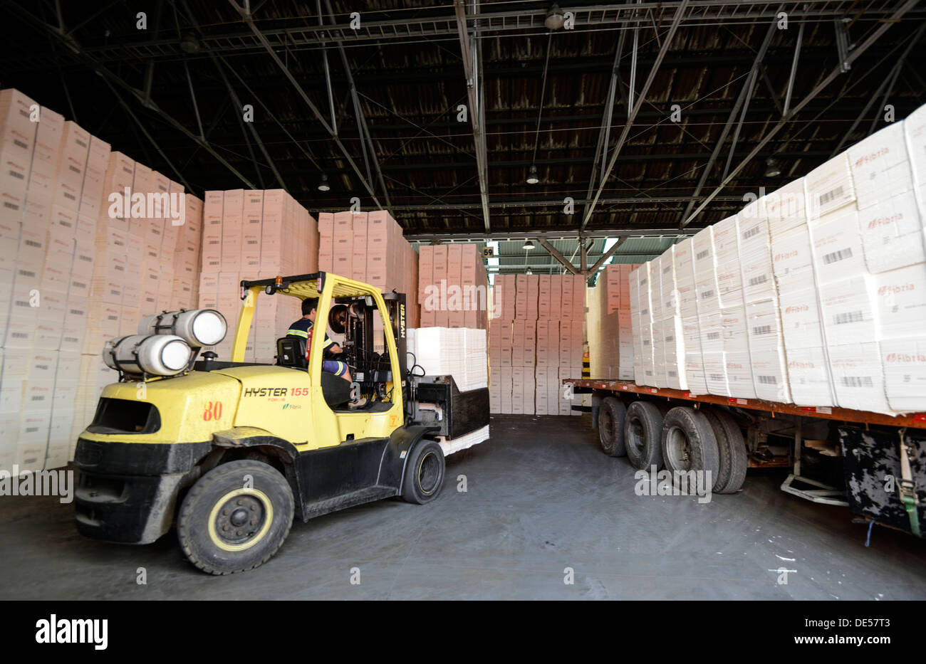 Port Of Santos Stock Photos Images Page 2 Hyster 155 Wiring Diagram Stacks Paper Are Loaded Onto A Ship For Export To China At The