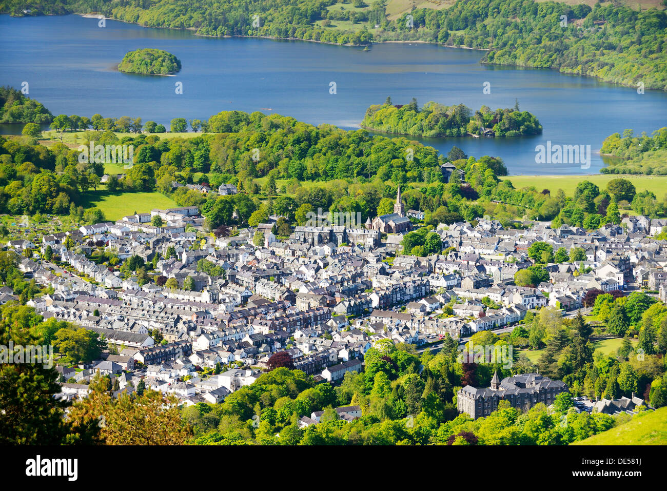 Lake District National Park, Cumbria, England. Southwest over Keswick town and north end of Derwentwater. Summer - Stock Image