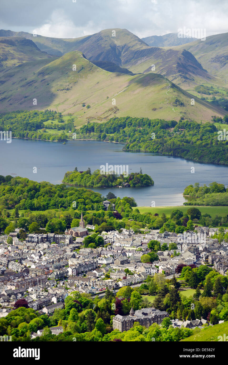 Lake District National Park, Cumbria, England. Southwest over Keswick town and north end of Derwentwater to Cat Bells. Summer - Stock Image