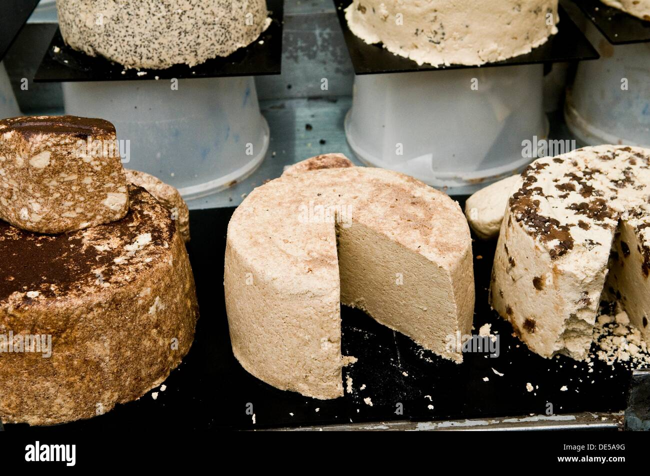 A big variety of Halva sweets sold in the Mahane Yehuda market of Jerusalem. - Stock Image