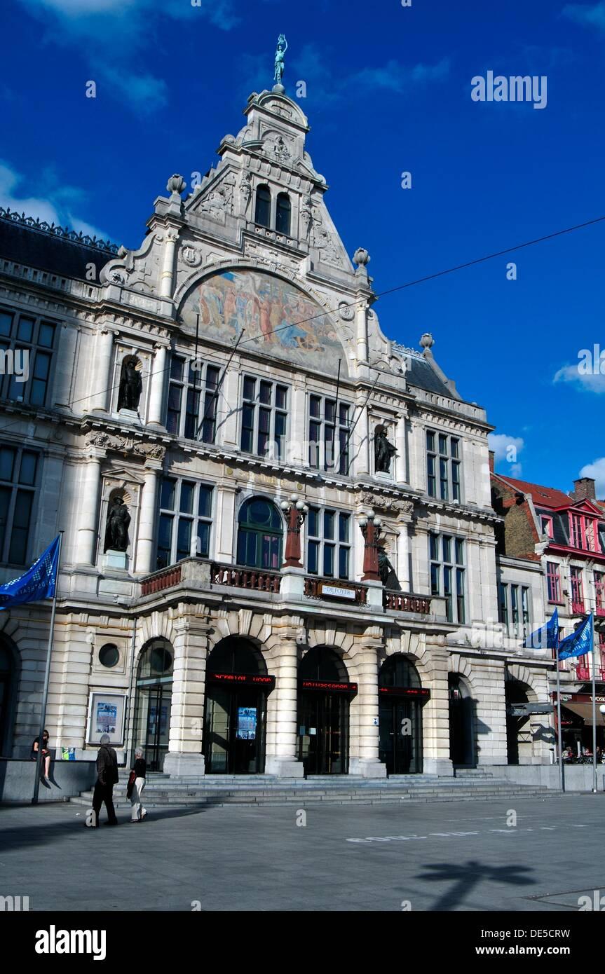 Building; Buildings; cities; Cityscapes; Color; Colour; Daytime; Europe; exterior; Facade; Façade; Facades; Façades; Flanders; - Stock Image