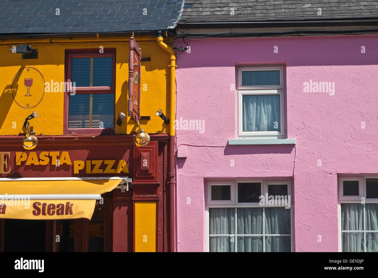 Detail of colorful houses in Clifden, Connemara, County Galway Stock ...