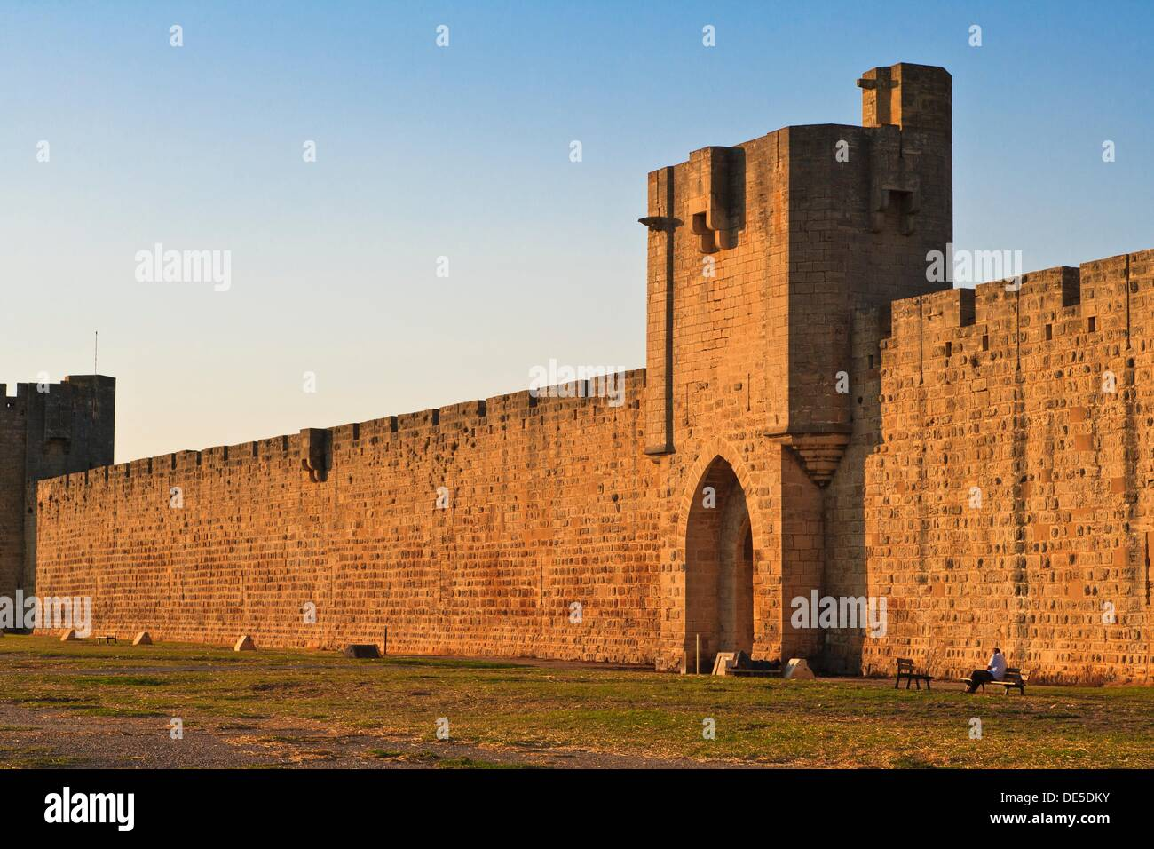 The city walls of Aigues Mortes in France, Europe - Stock Image