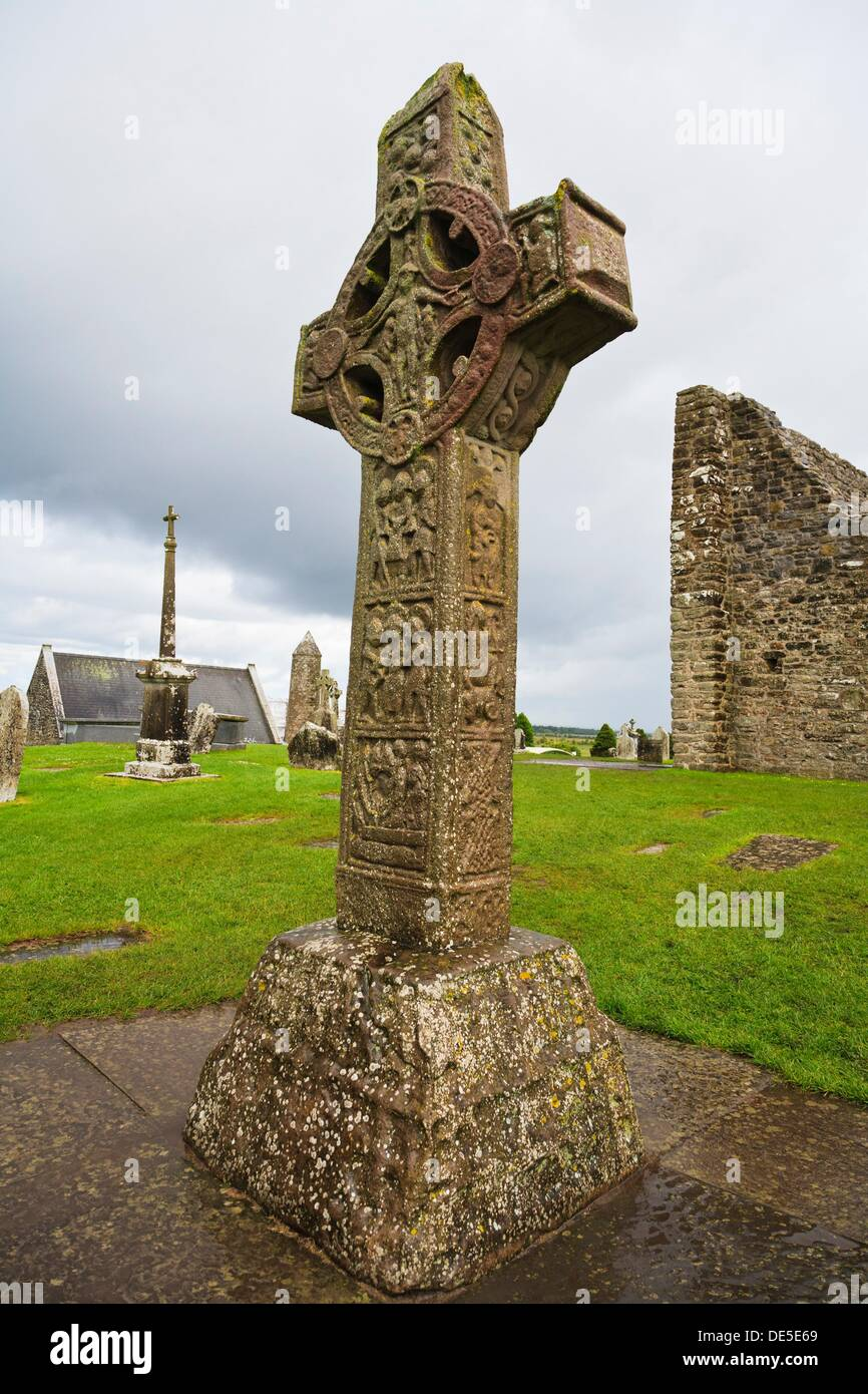 Cross of the Scriptures, Clonmacnoise, County Offaly, Ireland, Europe - Stock Image