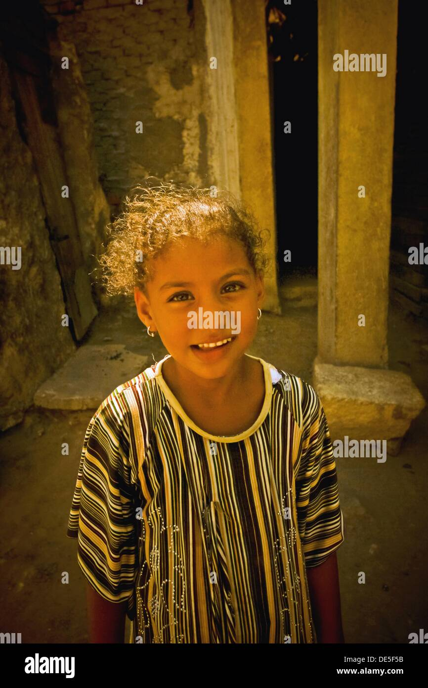 Portrait of Egyptian girl at city of dead,Cairo, Egypt - Stock Image