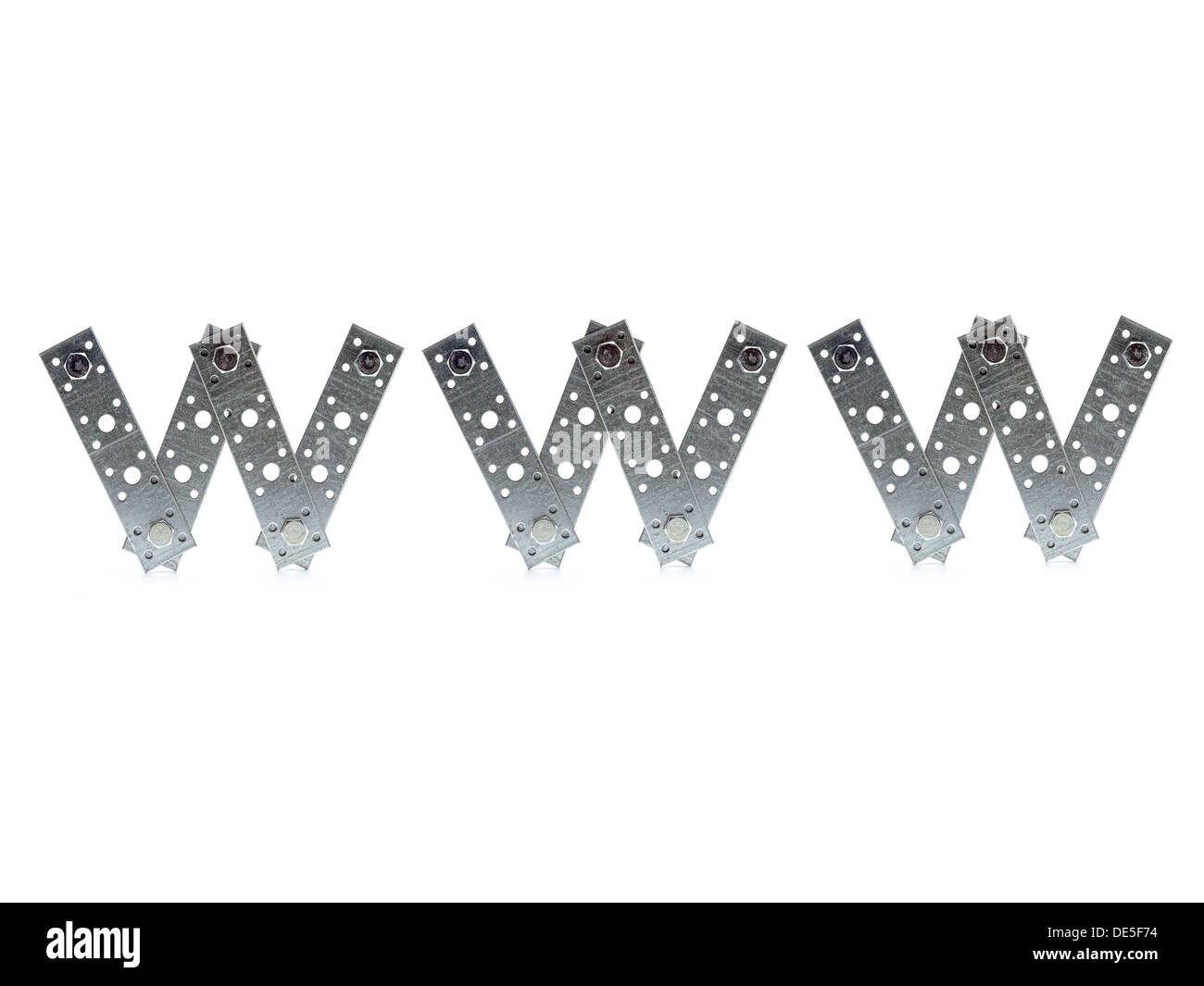 WWW acronym made from bolted metal flat bars over white background - Stock Image