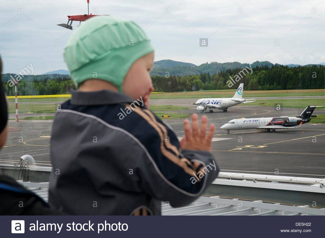 Airplanes of the Slovenian Adria Airlines Airport, Ljubljana, Slovenia - Stock Image