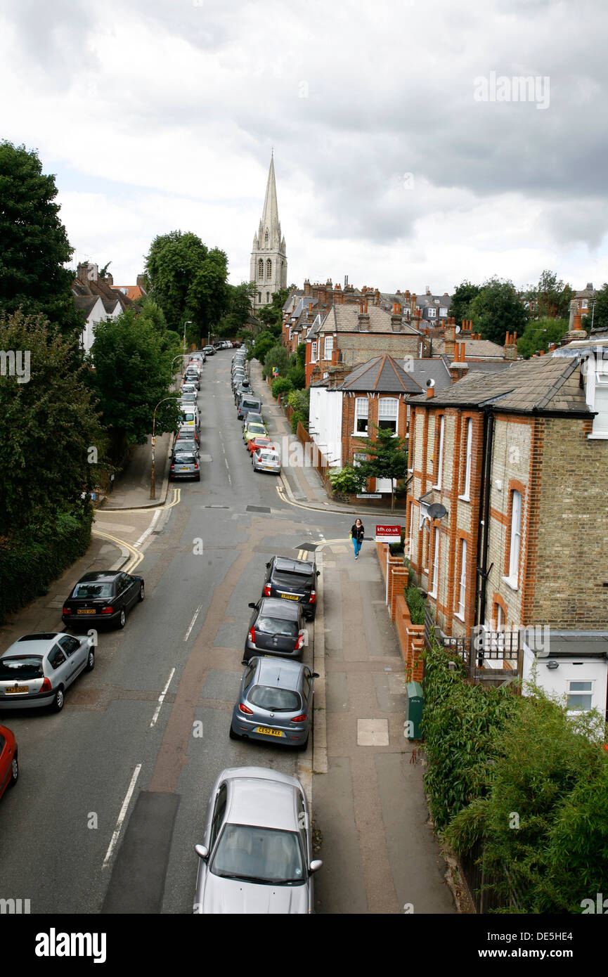 View up St James's Lane to St James's Church, Muswell HIll, London, UK - Stock Image