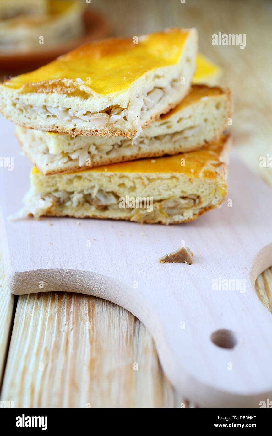slices of cake with cabbage and mushrooms, food close up - Stock Image