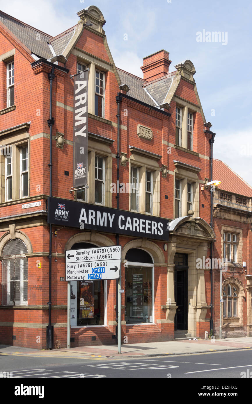The Army Careers information office on Great Moor Street, Bolton, Lancashire. - Stock Image