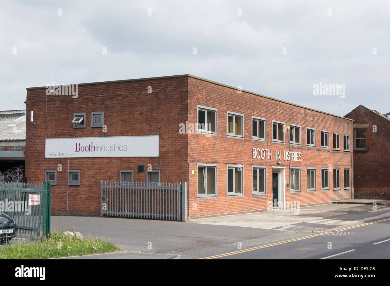 Booth Industries, specialists in manufacturing steel doors and modular blast walls, offices on Nelson Street, Bolton, - Stock Image