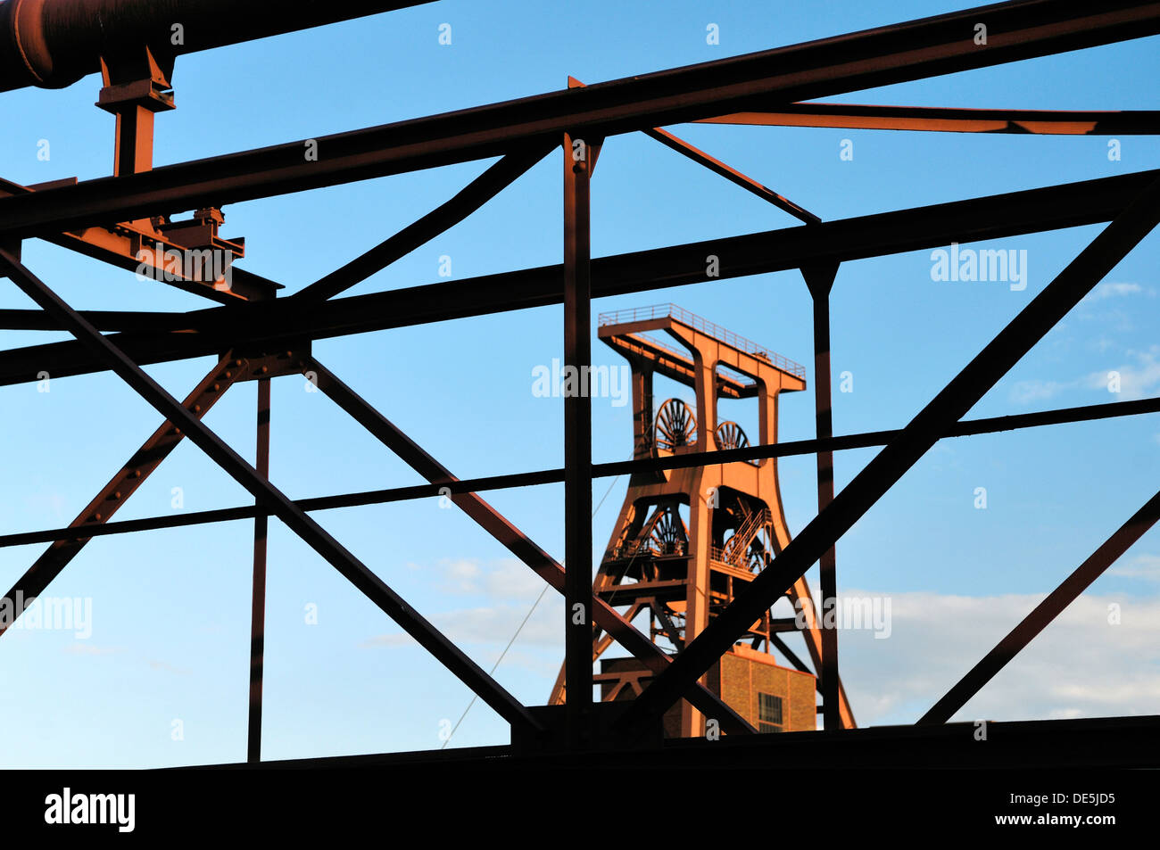 Zollverein Coal Mine Industrial Complex. Winding tower of Shaft 12. Famous symbol of Essen, and the Ruhrgebiet, Germany - Stock Image