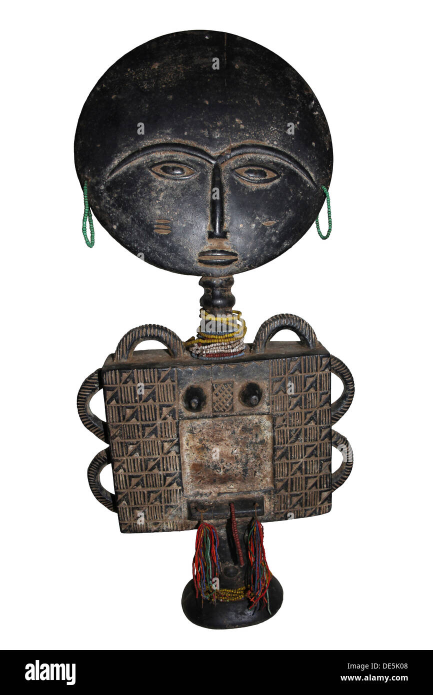 Ghana Akuaba Fertility Doll sculpted with an inlay which would have originally held a small mirror - Stock Image