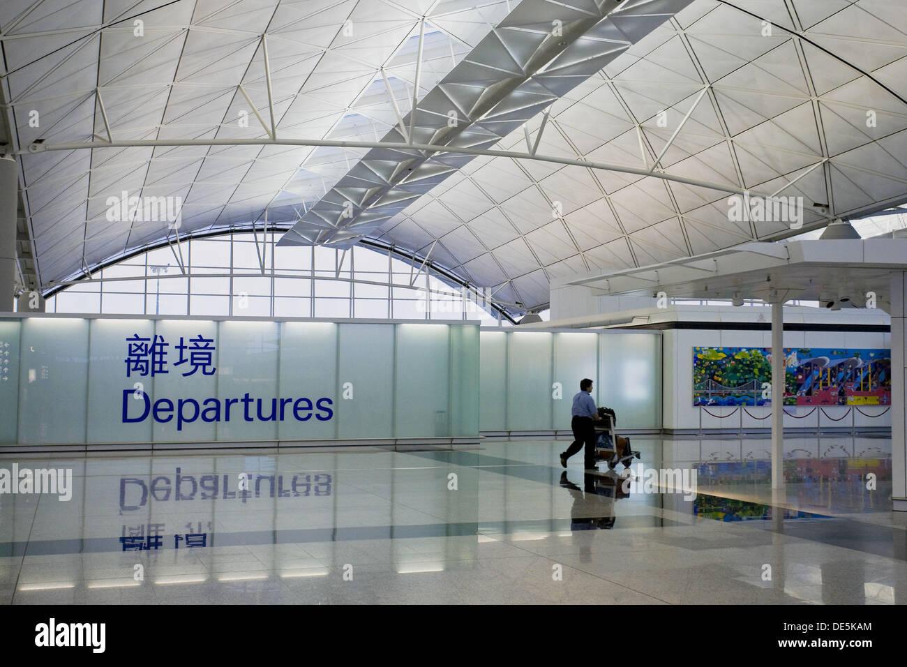 Hong Kong Chek Lap Kok International Airport, Departure Hall, Hong Kong, China - Stock Image