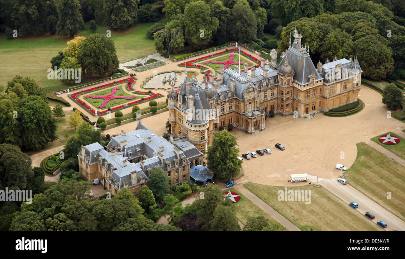 aerial view of Waddesdon Manor near Aylesbury, a Rothschilds Mansion - Stock Image