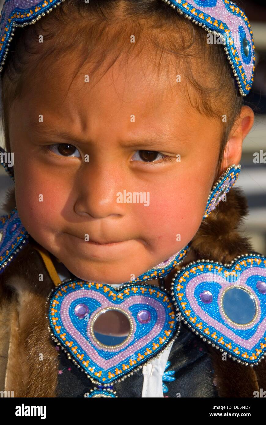 Native American girl in regalia, Pi-Ume-Sha Treaty Days, Warm Springs Indian Reservation, OR - Stock Image