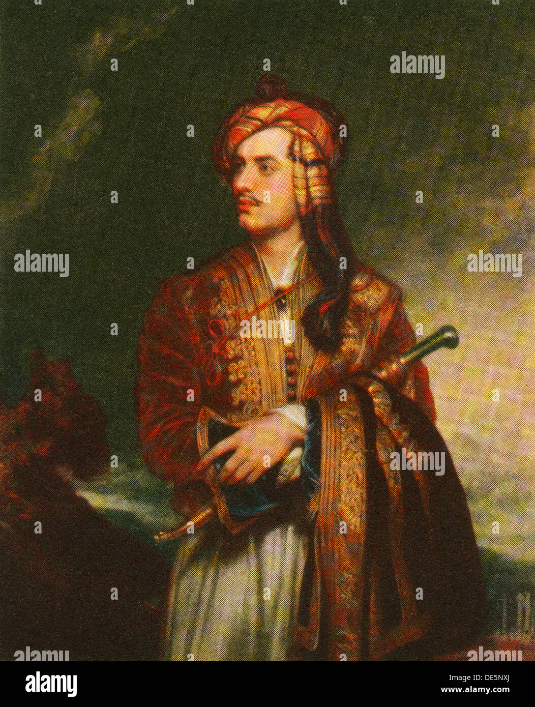 Lord Byron in Albanian dress. George Gordon Byron, 6th Baron Byron, 1788 – 1824, aka Lord Byron. English nobleman, poet, peer, politician, and leading figure in the Romantic movement. - Stock Image