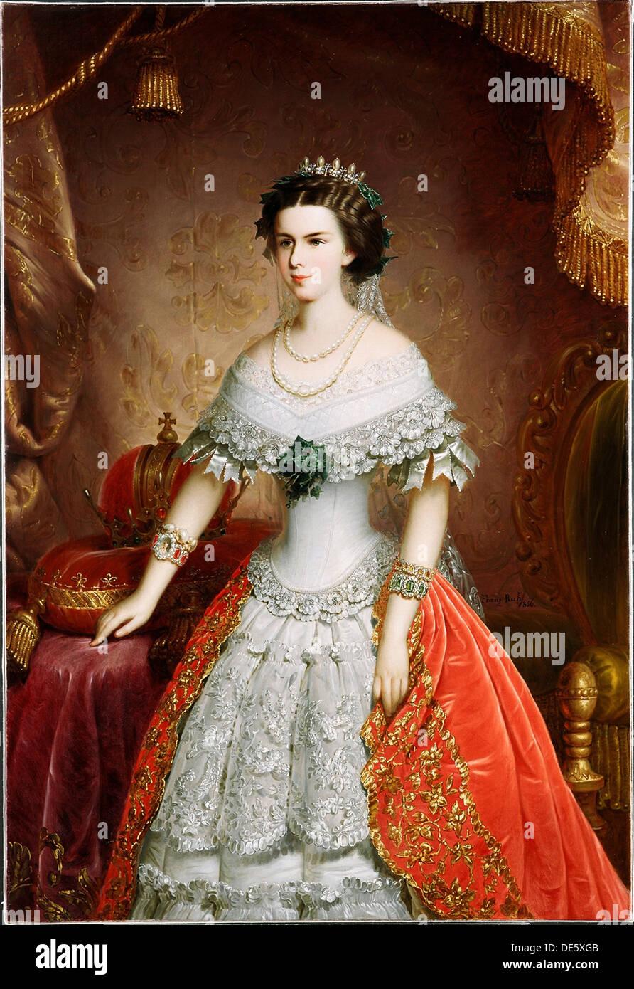 Portrait of Elisabeth of Bavaria, 1856. Artist: Russ, Franz, the Elder (1817-1892) - Stock Image